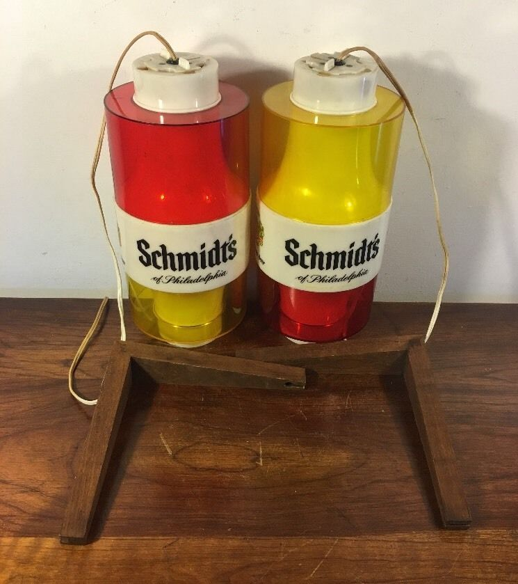 2 Vintage Schmidt's Beer Hanging Globe Wall Sconce Light W