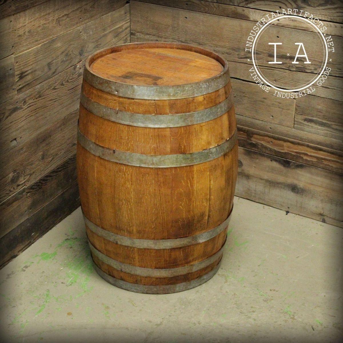 Vintage Industrial Wooden Liquor Barrel Full Keg