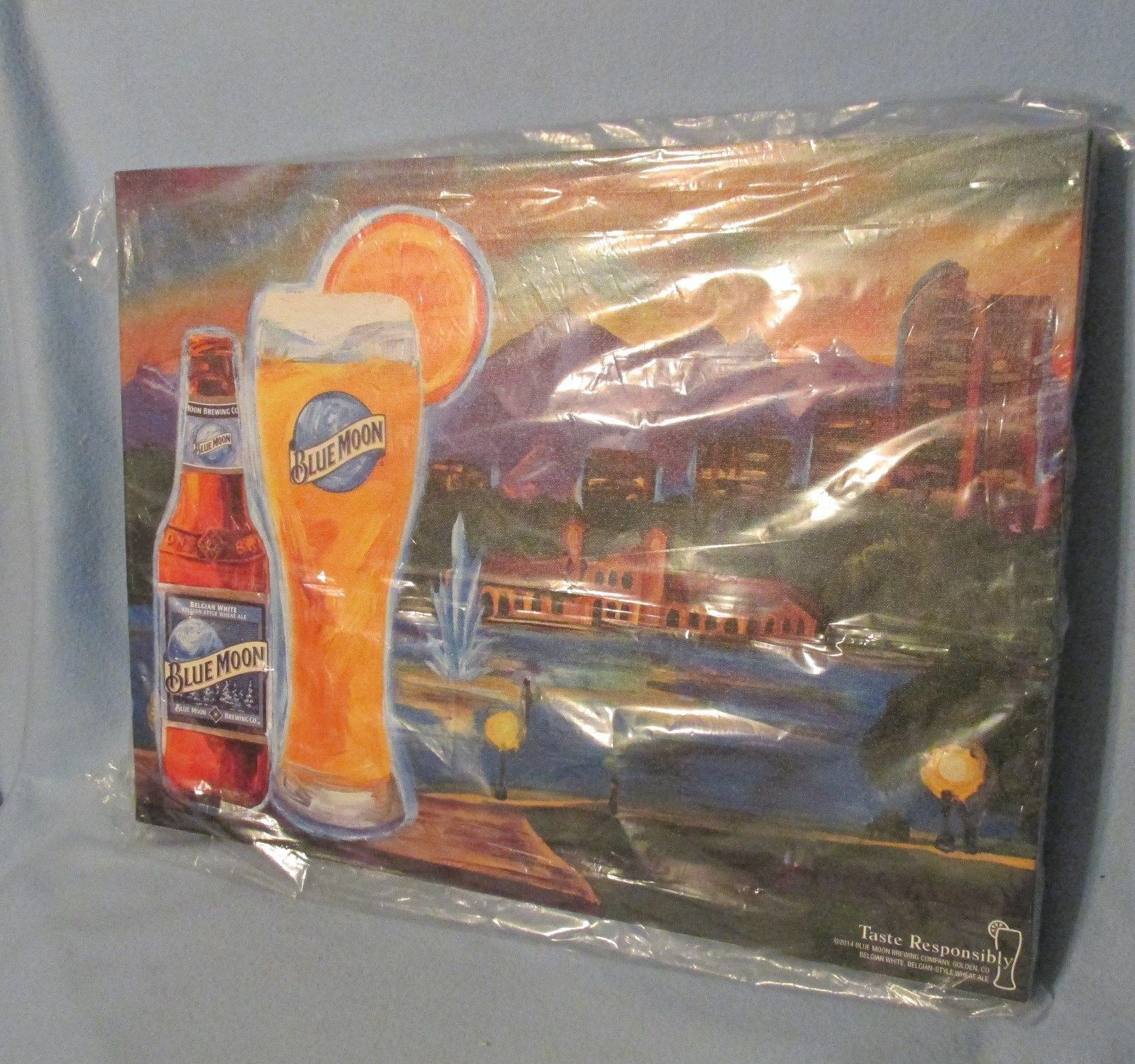 Blue moon beer canvas mural with easel featuring denver for Blue moon mural