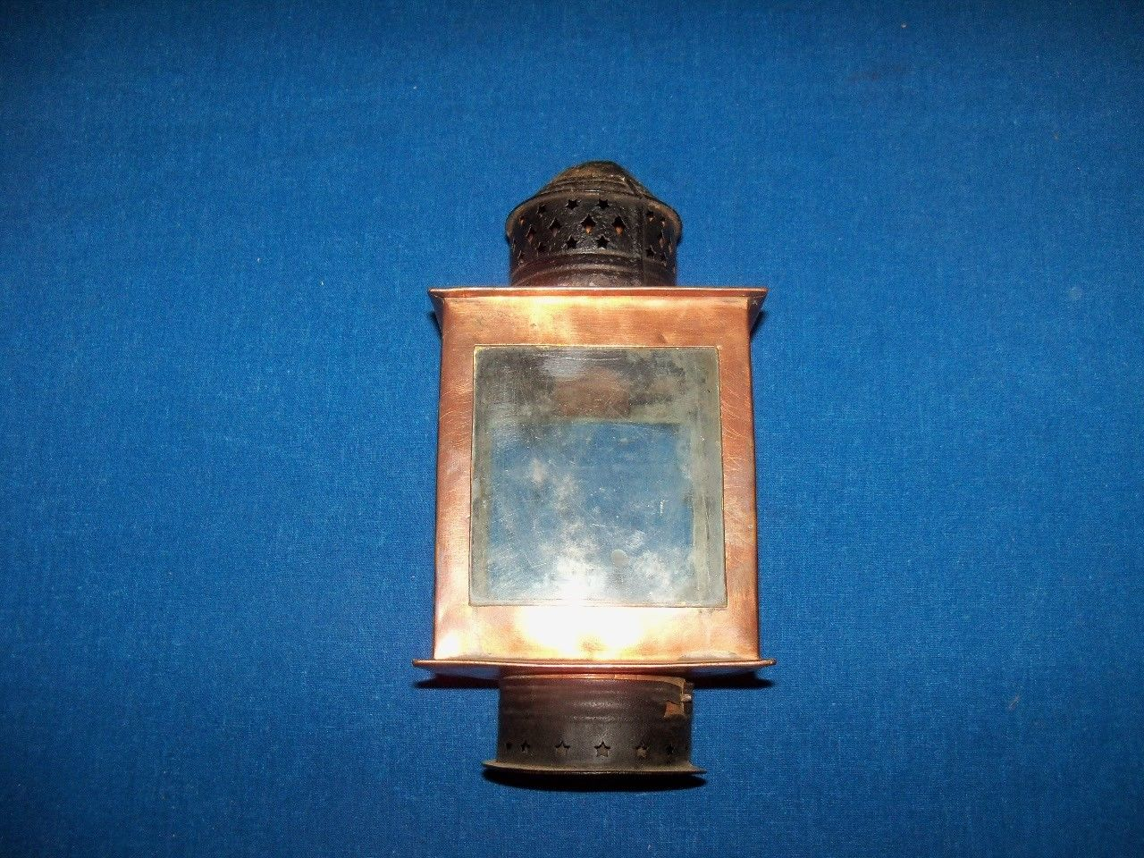 Scarce Antique Victorian Copper Candle Railroad Lantern Lamp Light Site Title