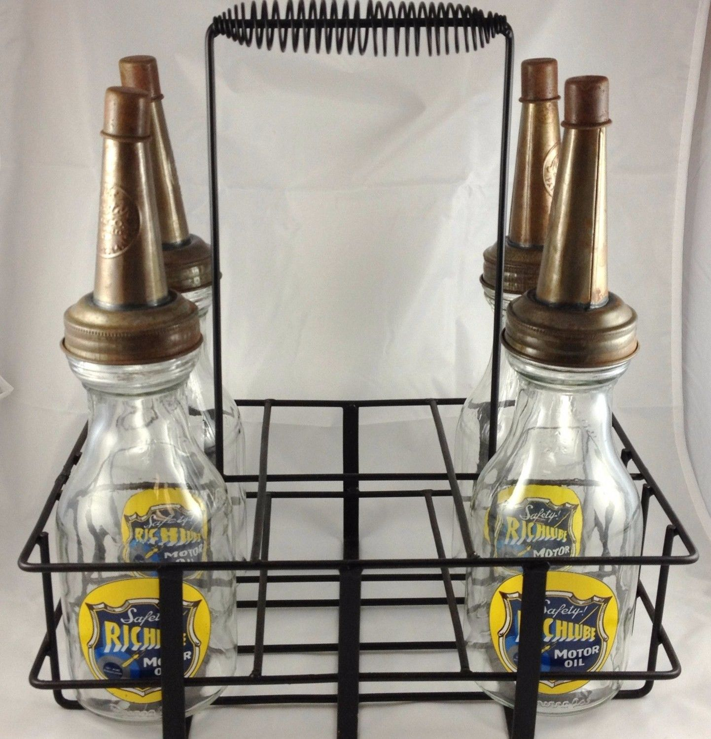 Richlube Gas Glass Motor Oil Bottles With Metal Carrier