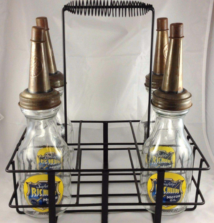Richlube gas glass motor oil bottles with metal carrier for Motor oil plastic bottle manufacturer