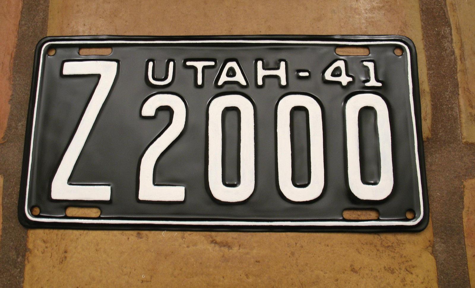 utah 1941 z 2000 restored license plate great number look site title. Black Bedroom Furniture Sets. Home Design Ideas