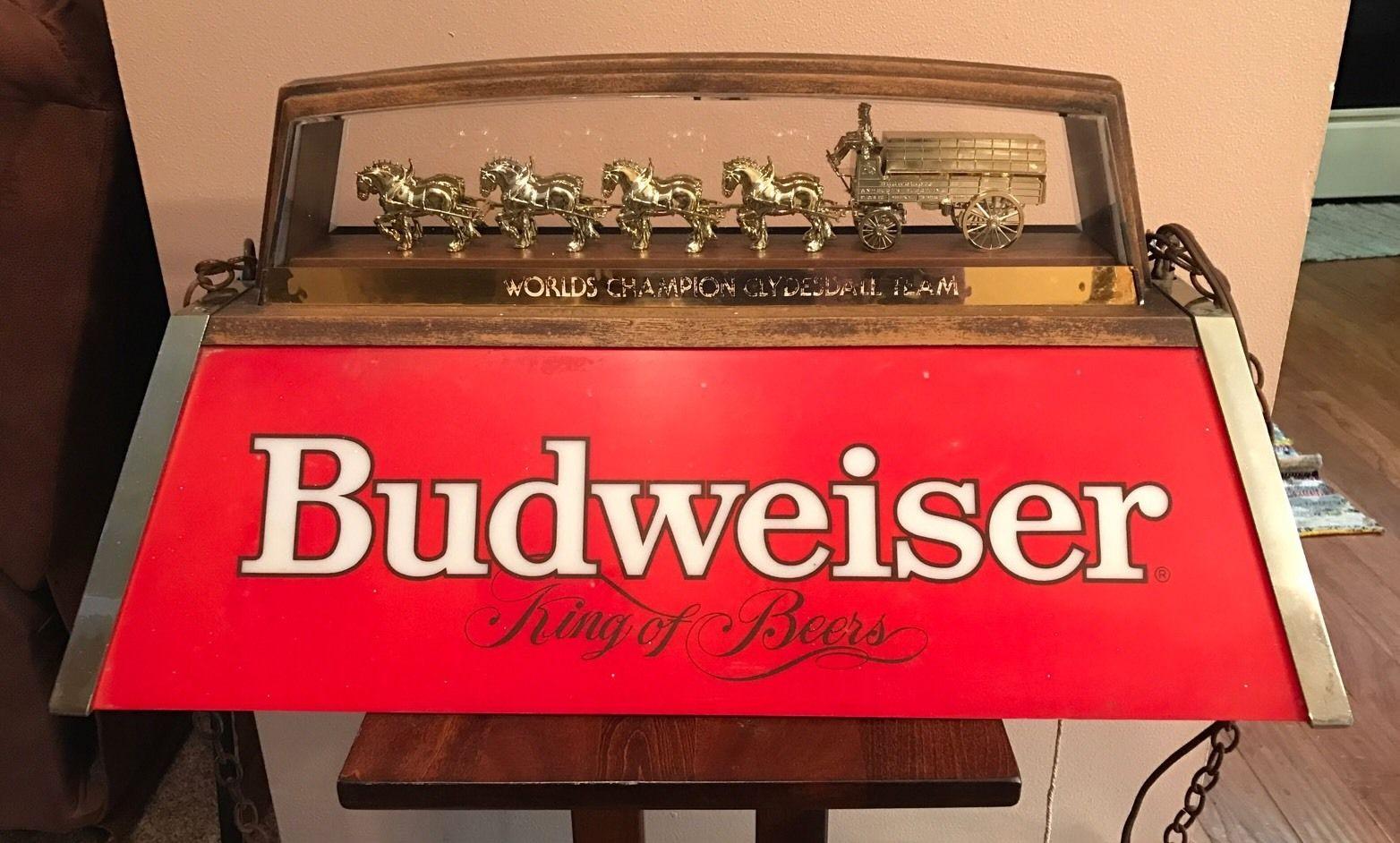 vintage budweiser clydesdale pool table hanging light bud 1983 beer. Black Bedroom Furniture Sets. Home Design Ideas