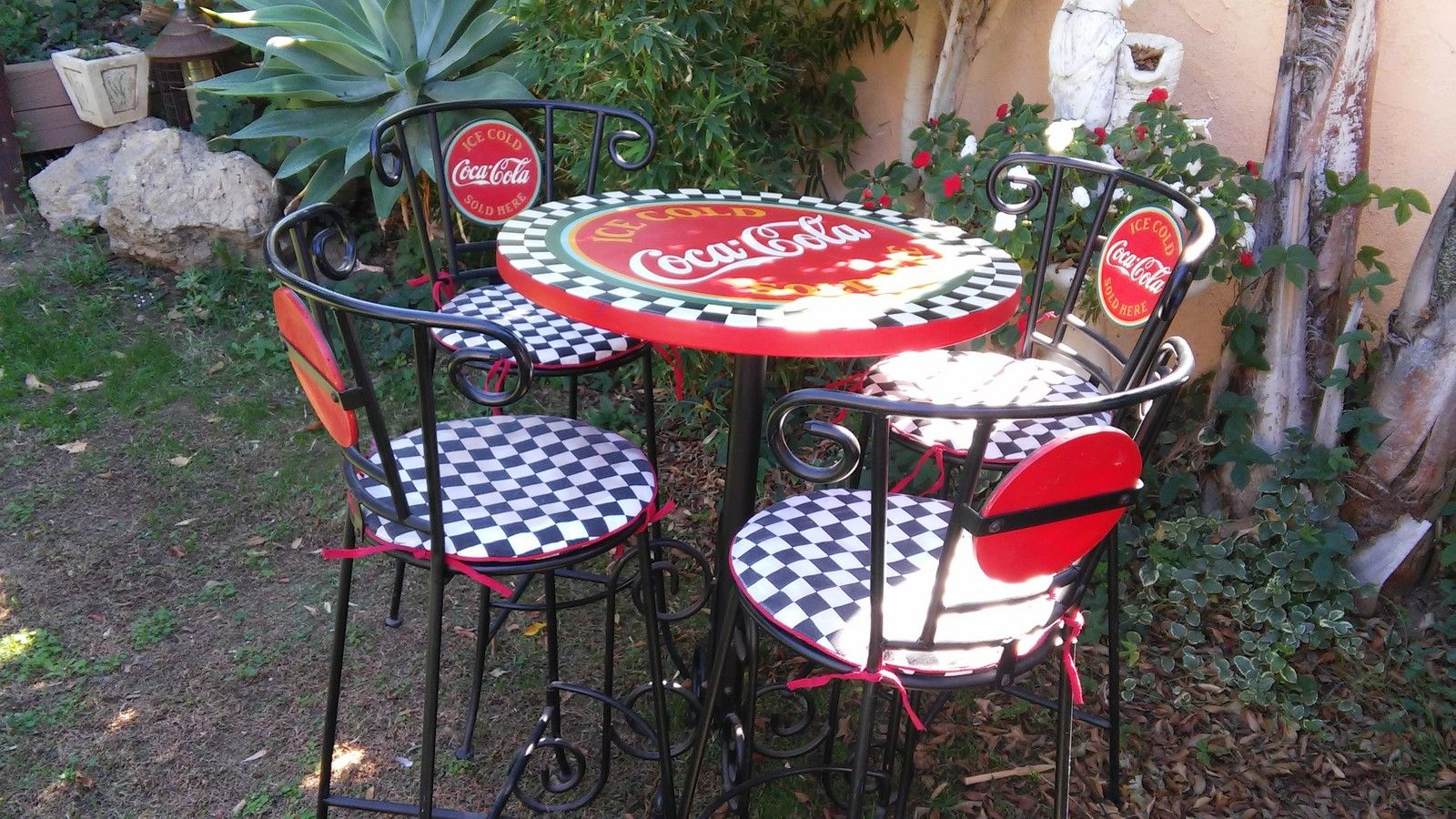 Authentic Vintage Coca Cola Wrought Iron Type Bar Or Patio