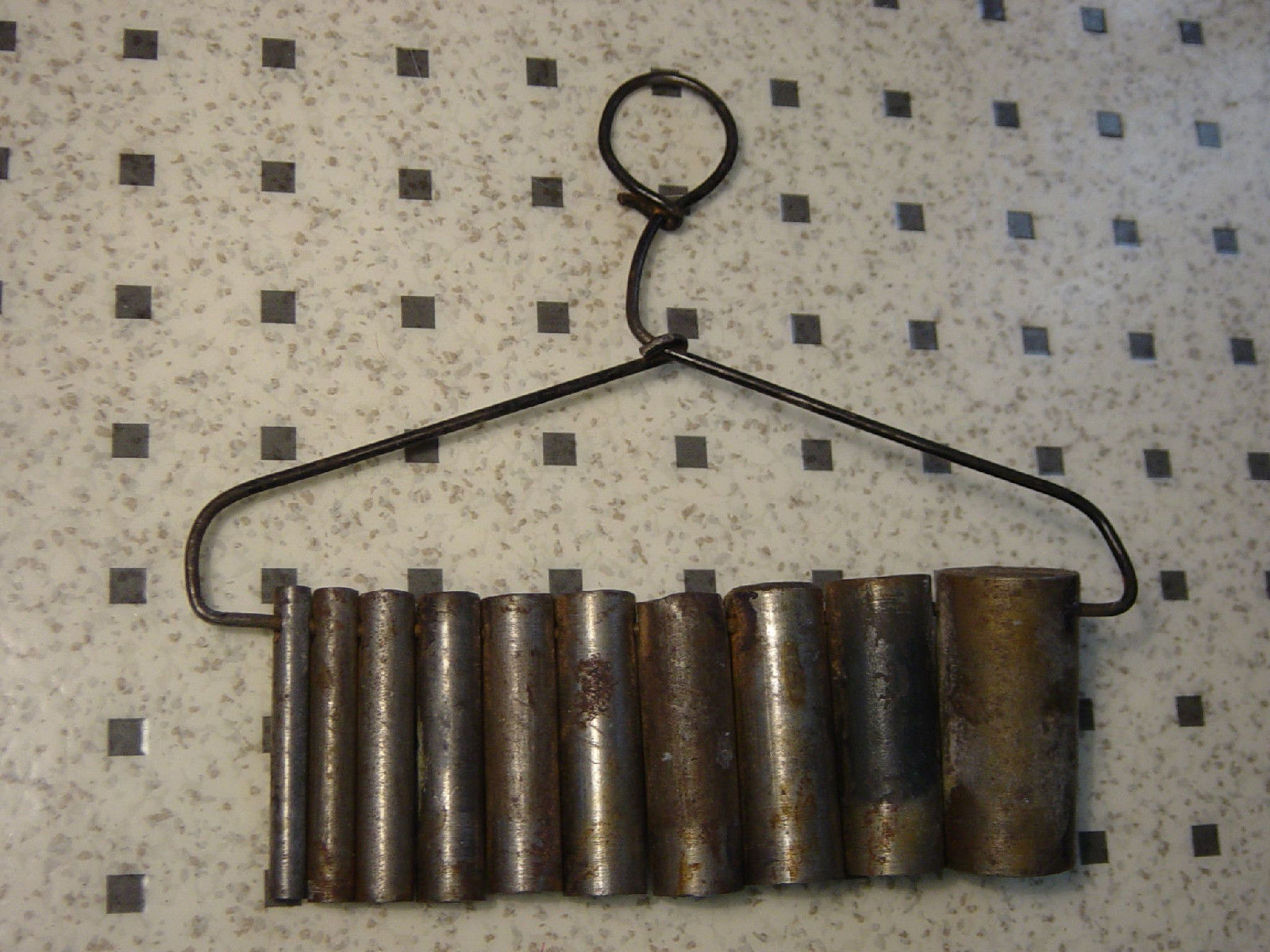 Solid Aluminum Pipe : Industrial steampunk hanging wall found art solid