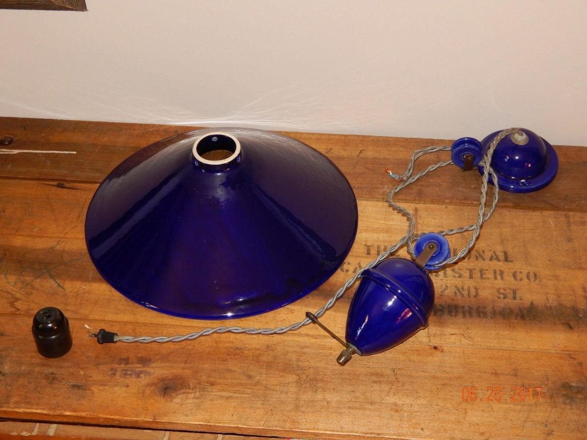 french industrial terre d hautaniboul weighted rise fall lamp cobalt blue 3 site title. Black Bedroom Furniture Sets. Home Design Ideas