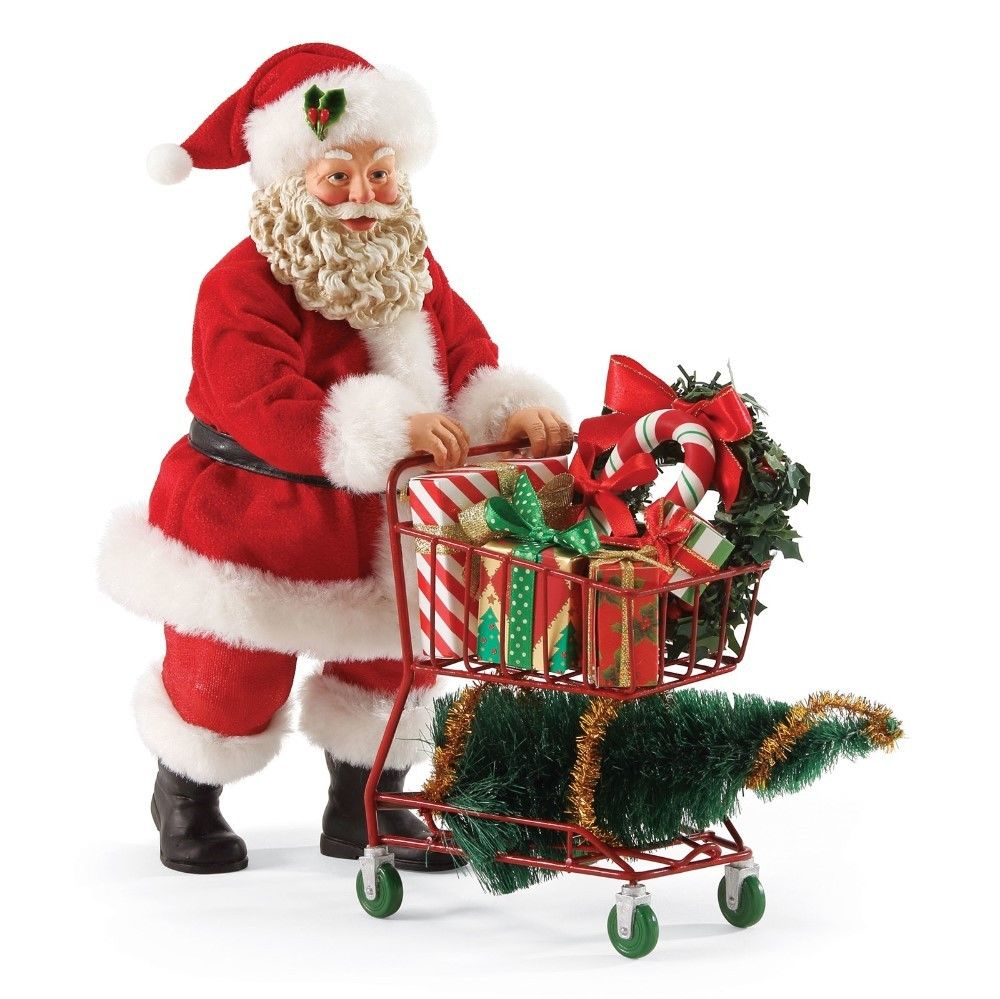 Possible dreams figurine santa christmas shopping cart