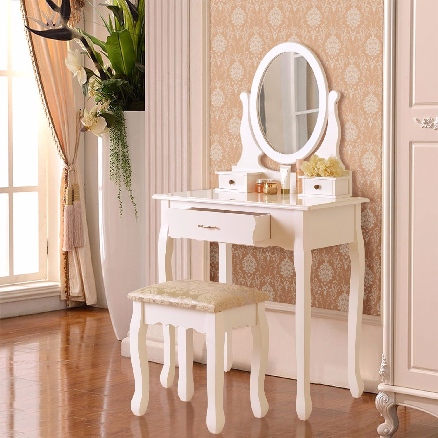 3 drawer mirror makeup white vanity dressing table set w for Vanity table with drawers no mirror