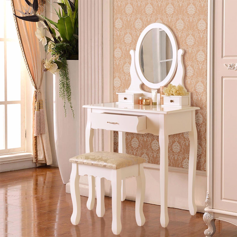 3 Drawer Mirror Makeup White Vanity Dressing Table Set W
