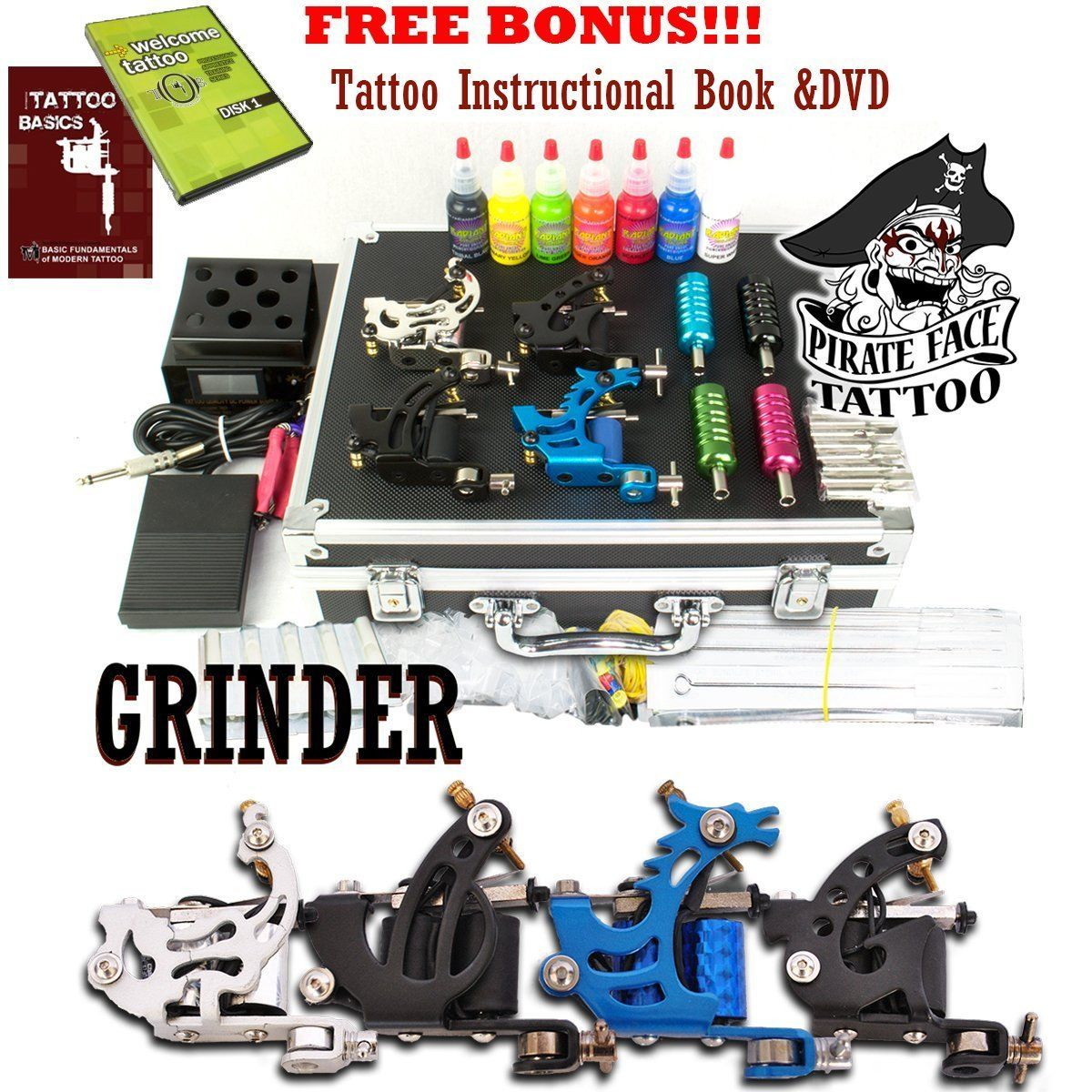 Grinder complete tattoo kit 4 tattoo machine guns power for Cheap tattoo kits amazon